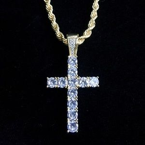 Other - EXCLUSIVE CROSS DIAMONDS CZ 18K GOLD CHAIN ITALY